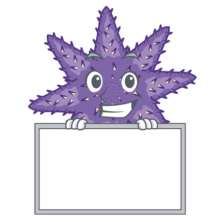 Grinning with board purple starfish isolated with the mascot vector illustration