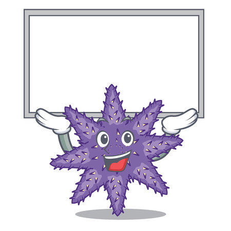 Up board purple starfish isolated with the mascot vector illustration Иллюстрация
