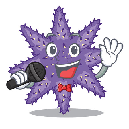 Singing purple starfish in the character shape vector illustration 免版税图像 - 124235650