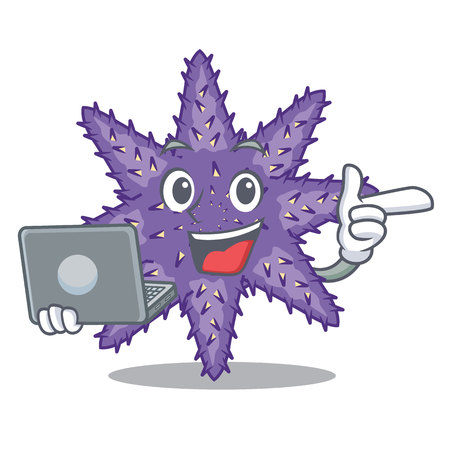 With laptop purple starfish isolated with the mascot vector illustration Illustration