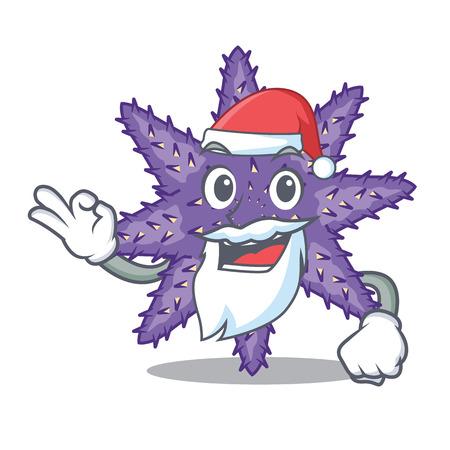 Santa purple starfish the cartoon above sand vector illustration