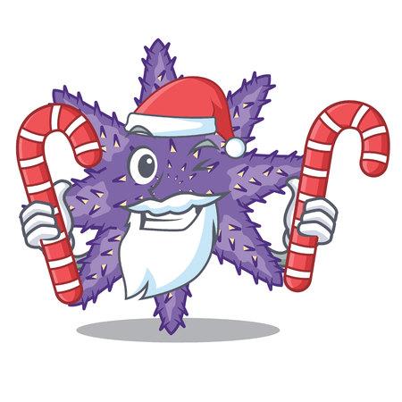 Santa with candy purple starfish the cartoon above sand vector illustration Illustration