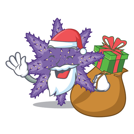 Santa with gift purple starfish the cartoon above sand vector illustration