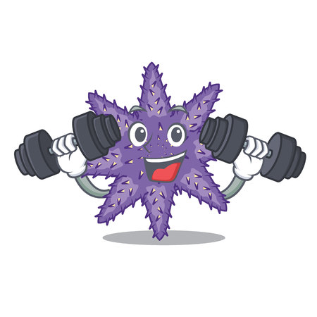 Fitness purple starfish isolated with the mascot vector illustration
