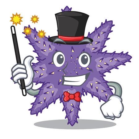 Magician purple starfish the cartoon above sand vector illustration Illustration