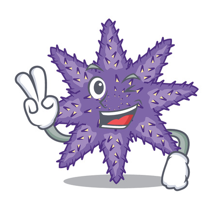 Two finger purple starfish above cartoon coral reef vector illustration Imagens - 124235683
