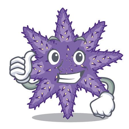 Thumbs up purple starfish above cartoon coral reef vector illustration