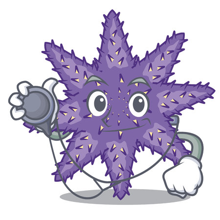 Doctor purple starfish isolated with the mascot vector illustration