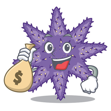 With money bag purple starfish isolated with the mascot vector illustration