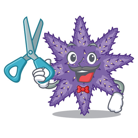 Barber purple starfish isolated with the mascot vector illustration