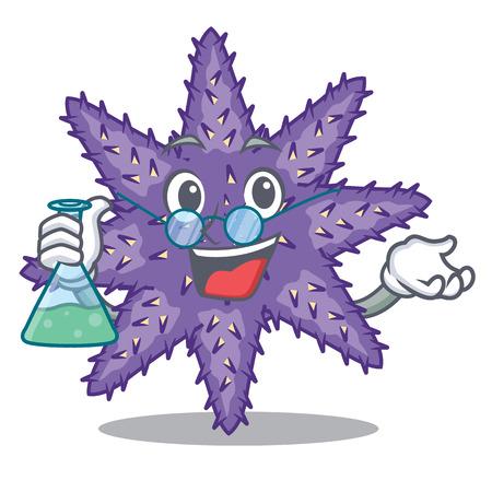 Professor purple starfish above cartoon coral reef vector illustration Imagens - 124235694