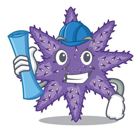 Architect purple starfish above cartoon coral reef vector illustration