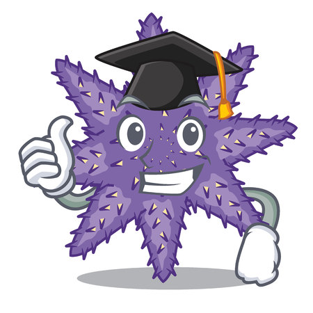 Graduation purple starfish above cartoon coral reef vector illustration Imagens - 124235699