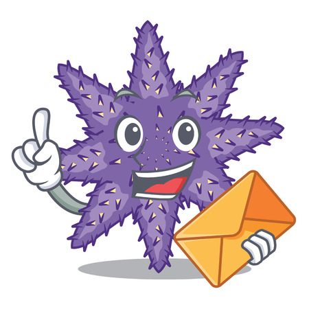 With envelope purple starfish above cartoon coral reef vector illustration