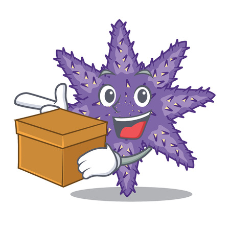 With box purple starfish above cartoon coral reef vector illustration Imagens - 124235703