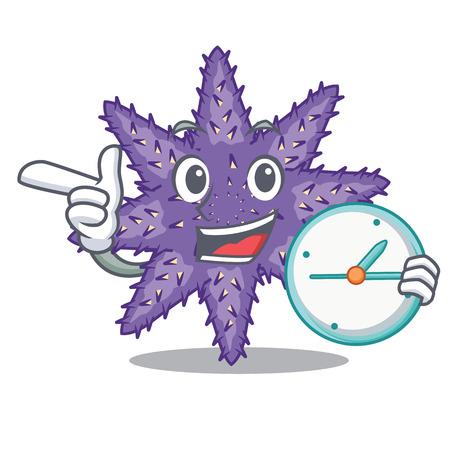 With clock purple starfish above cartoon coral reef vector illustration Ilustração