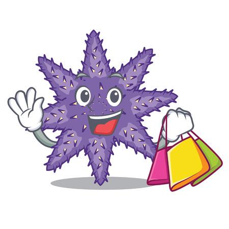 Shopping purple starfish above cartoon coral reef vector illustration Imagens - 124235706