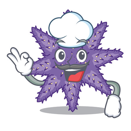 Chef purple starfish above cartoon coral reef vector illustration