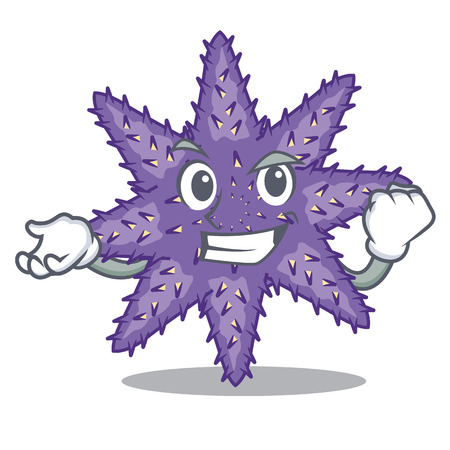 Successful purple starfish above cartoon coral reef vector illustration Illustration