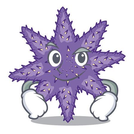 Smirking purple starfish above cartoon coral reef vector illustration Imagens - 124235711