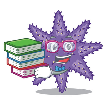 Student with book purple starfish the cartoon above sand vector illustration