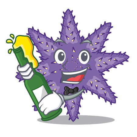 With beer purple starfish the cartoon above sand vector illustration