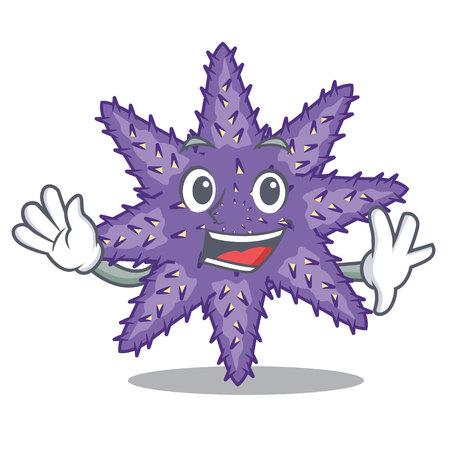 Waving purple starfish above cartoon coral reef vector illustration Ilustração