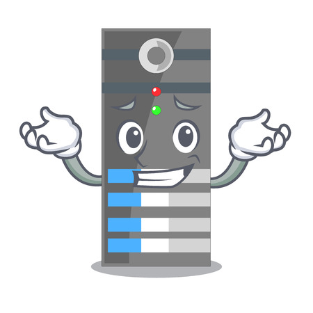 Grinning data server isolated in the character vector illustration