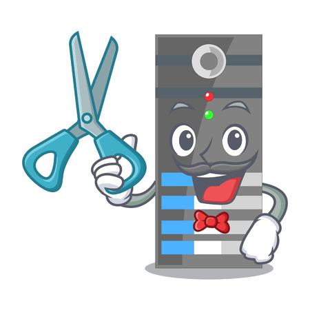 Barber data server next the cartoon computer vector illustration