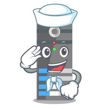 Sailor data server next the cartoon computer vector illustration