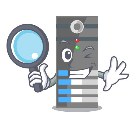 Detective data server isolated in the character vector illustration
