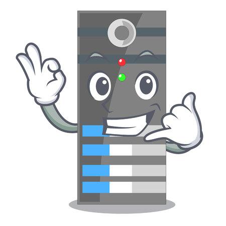 Call me data server above the cartoon tables vector illustration Illustration