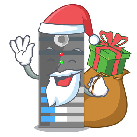 Santa with gift data server above the cartoon tables vector illustration Vettoriali