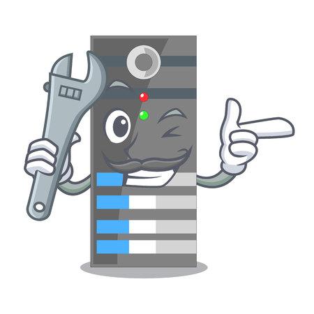 Serveur de données mécanicien au-dessus des tables de dessin animé vector illustration Vecteurs