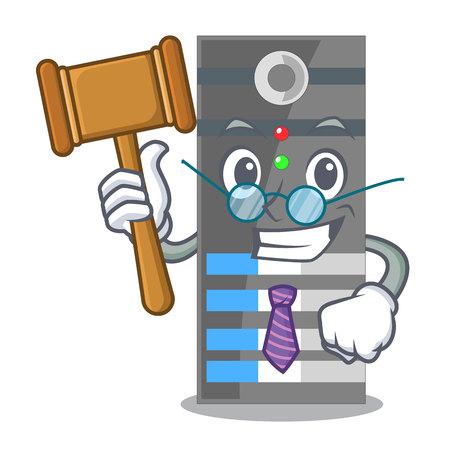 Serveur de données de juge au-dessus des tables de dessin animé illustration vectorielle
