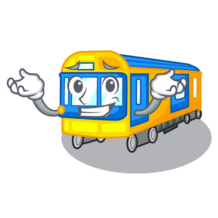 Grinning subway train toys in shape mascot vector illustration 일러스트