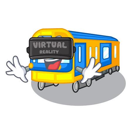 Virtual reality subway train isolated in the cartoon vector illustration