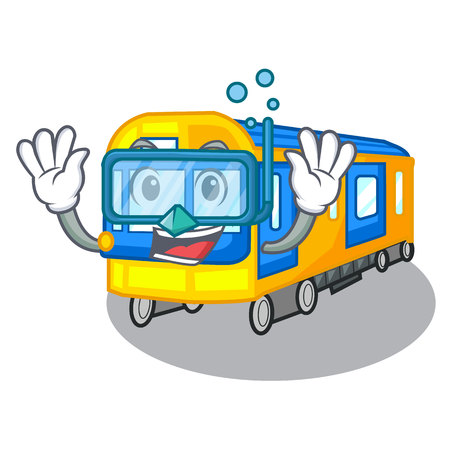 Diving subway train toys in shape mascot vector illustration Çizim