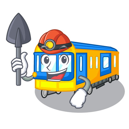 Miner subway train isolated in the cartoon vector illustration