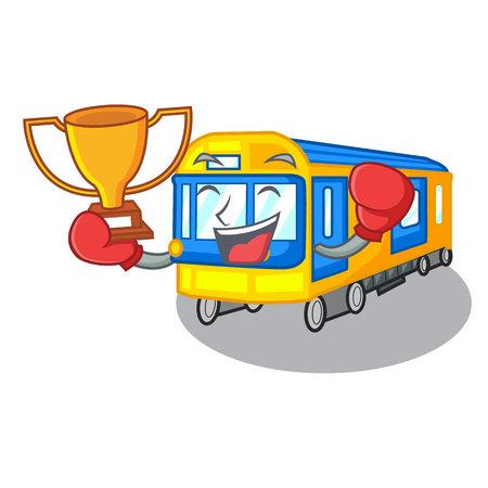 Dibujos animados de tren de metro en miniatura de ganador de boxeo sobre ilustración de vector de tabla Ilustración de vector