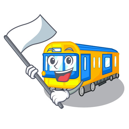 With flag miniature subway train cartoon above table vector illustration