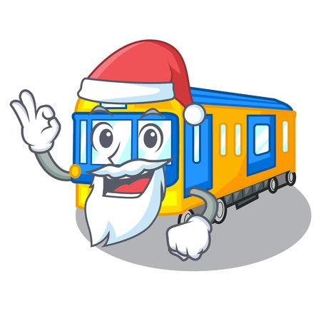 Dibujos animados de tren subterráneo en miniatura de Santa sobre ilustración de vector de tabla Ilustración de vector