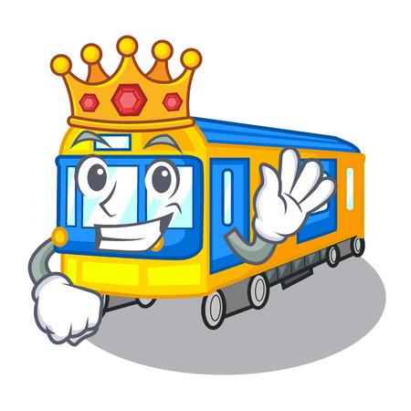 Rey de dibujos animados de tren de metro en miniatura sobre la ilustración de vector de tabla
