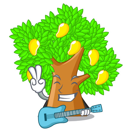 With guitar character mango tree beside the house