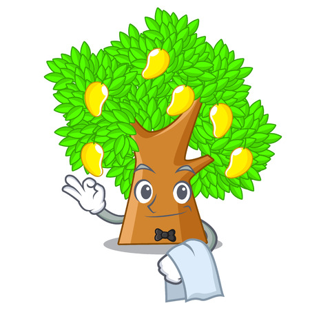 Waiter character mango tree beside the house Illustration