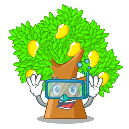 Diving mango tree in the cartoon shape vector illustration