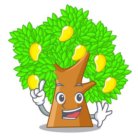 Finger toy cartoon mango tree above table  イラスト・ベクター素材