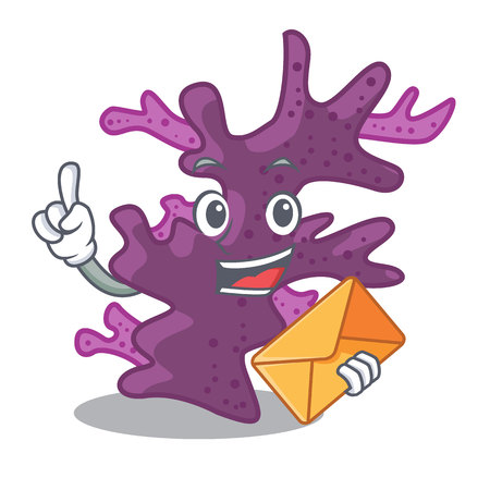 With envelope purple coral reef isolated with character vector illustration Vettoriali