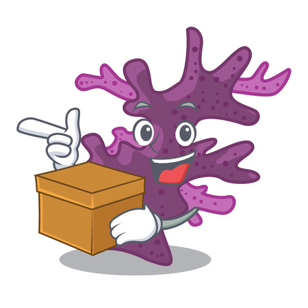 With box purple coral reef isolated with character vector illustration
