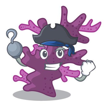 Pirate purple coral reef in cartoon aquarium vector illustration
